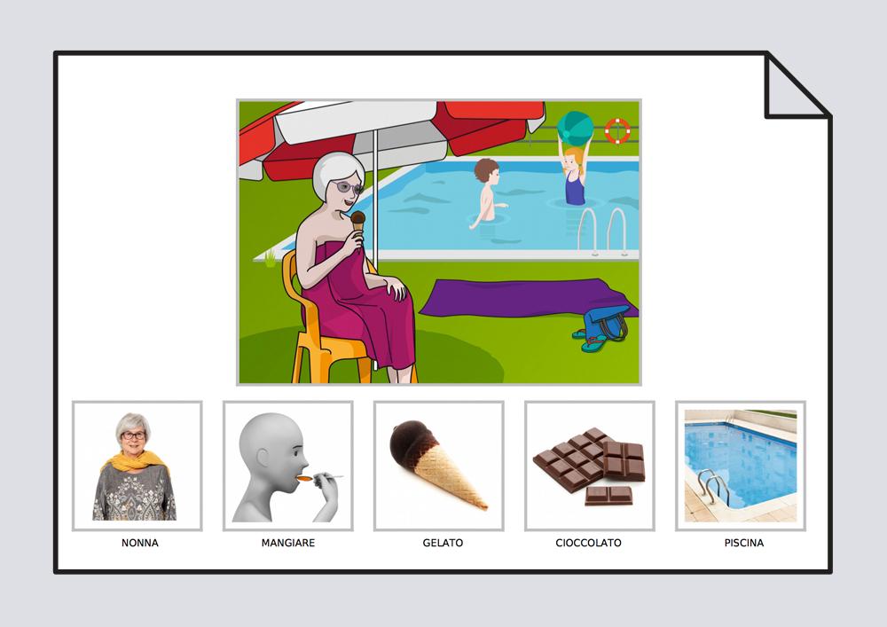 La abuela come un helado de chocolate en la piscina