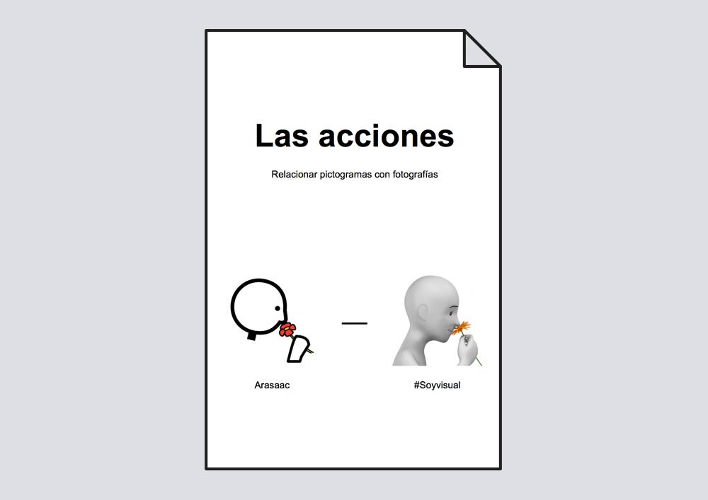 Actividad para identificar y relacionar el pictograma y la fotografía correspondiente sobre las acciones.