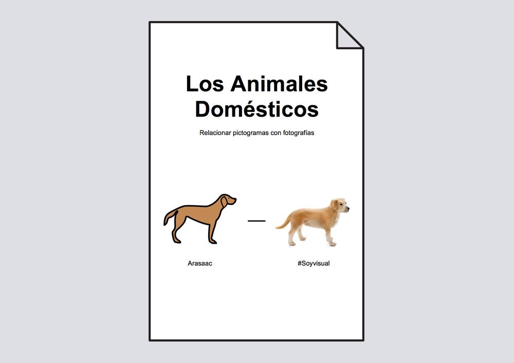 Relacionar animales domésticos: pictogramas-fotografías