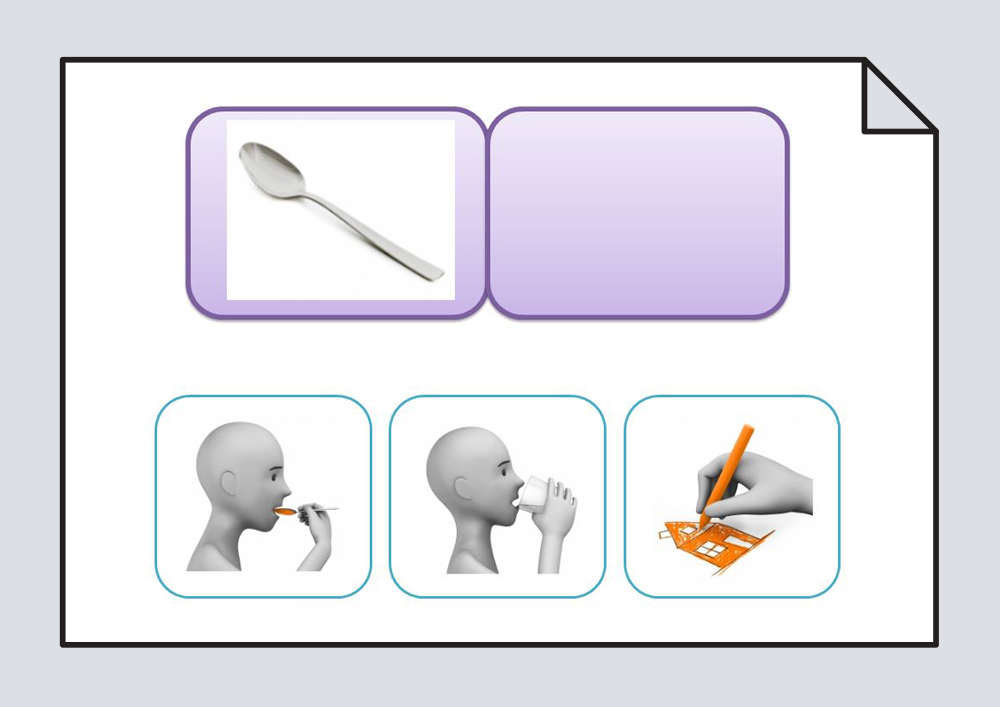 Material para trabajar las asociaciones lógicas entre acciones y objetos