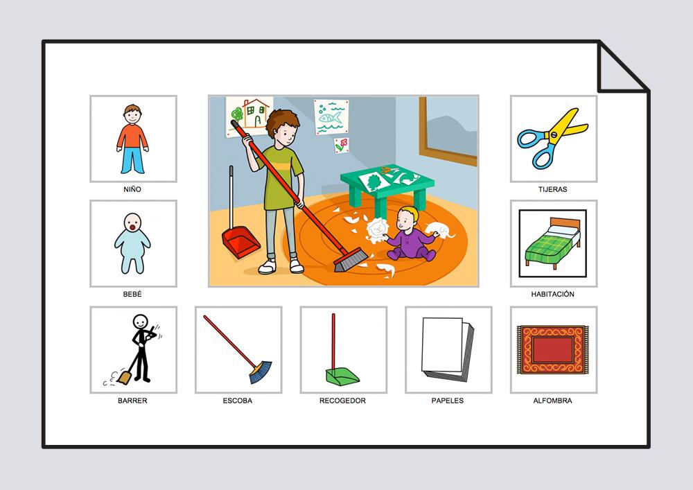 Vocabulario. El niño barre el suelo