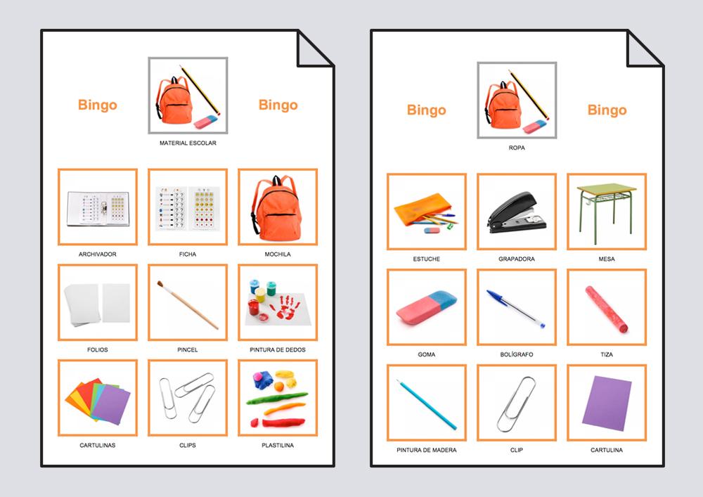 Bingo del material escolar: Bingo #Soyvisual