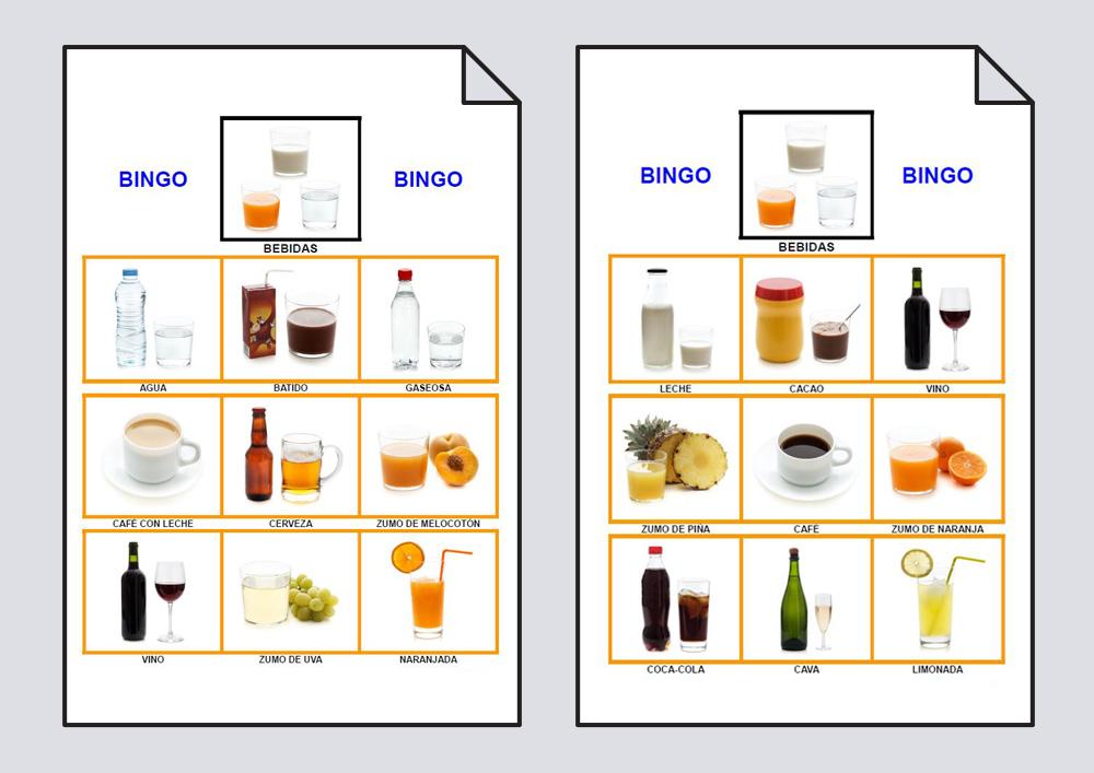 Bingo sobre las bebidas compuesto por dos cartones y nueve bebidas en cada uno de ellos