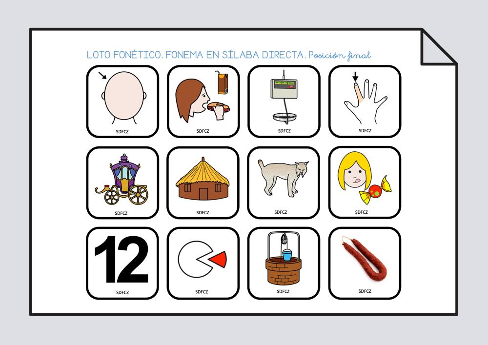 Loto fonemas Z y C