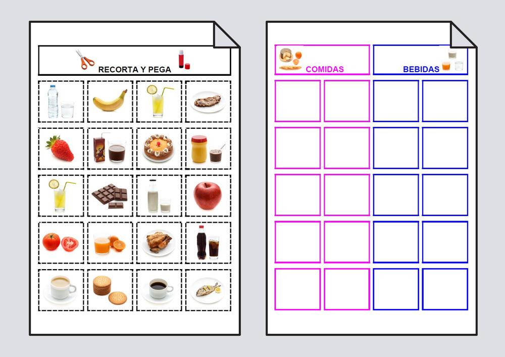 Material para trabajar la clasificación y categorización del vocabulario: comidas y bebidas.
