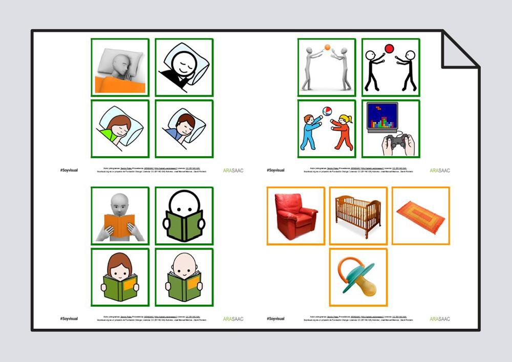 Construcción de frases y vocabulario. Verbos Dormir, Leer y Jugar