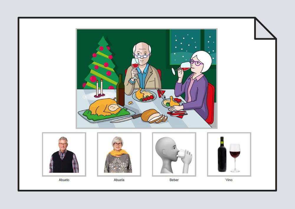 """Material para trabajar la construcción de frases en torno a la lámina  """"El abuelo y la abuela beben vino en la cena de Navidad"""""""