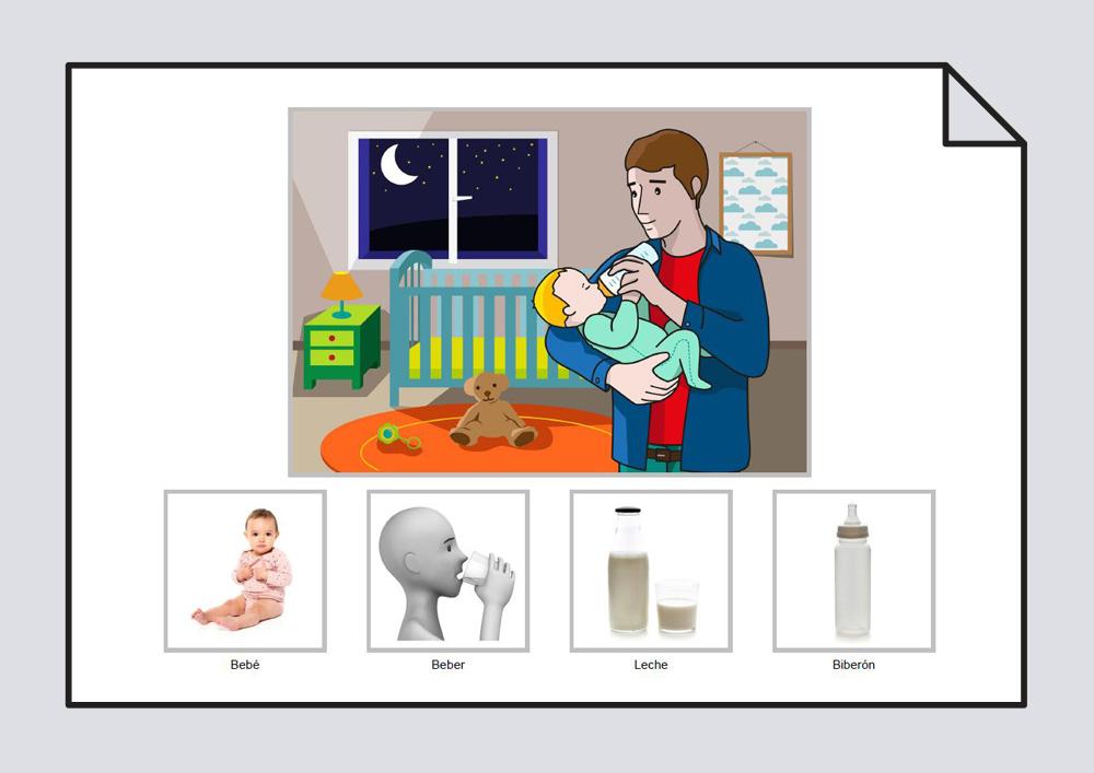 """Material para trabajar la construcción de frases en torno a la lámina """"El bebé bebe leche en el biberón"""""""