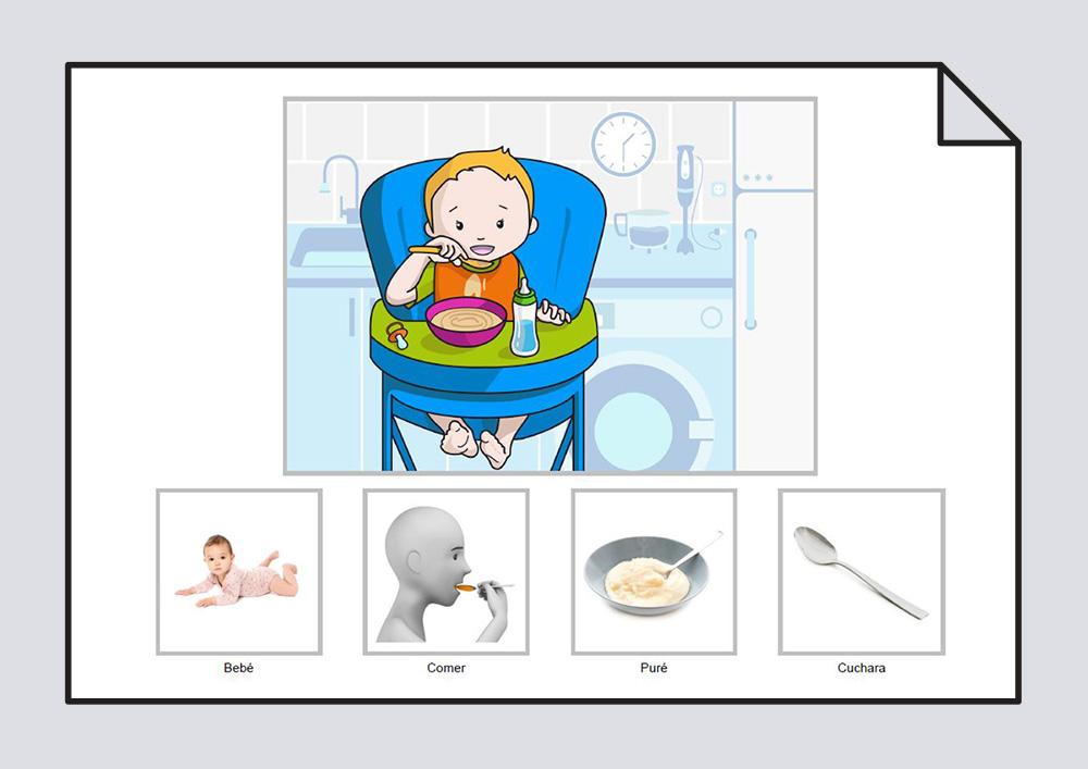 El bebé come puré con la cuchara