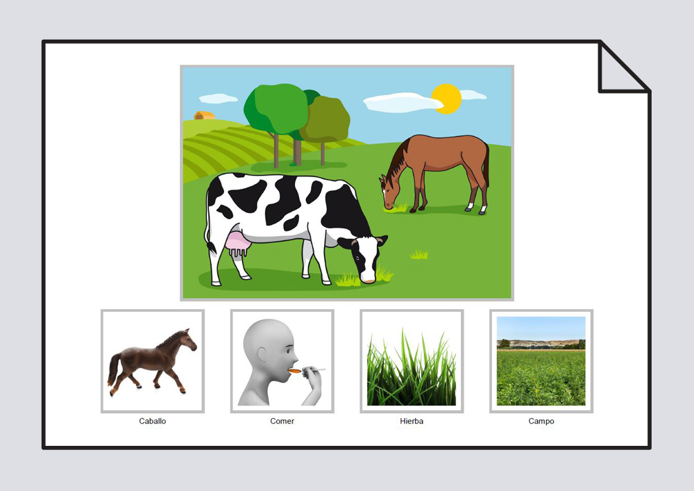 """Material para trabajar la construcción de frases en torno a la lámina """"El caballo come hierba en el campo"""""""