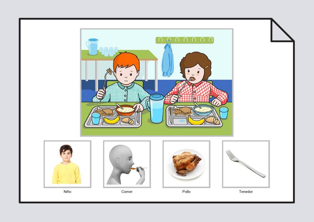 """Material para trabajar la construcción de frases en torno a la lámina """"El niño come pollo con el tenedor en el comedor del colegio""""."""
