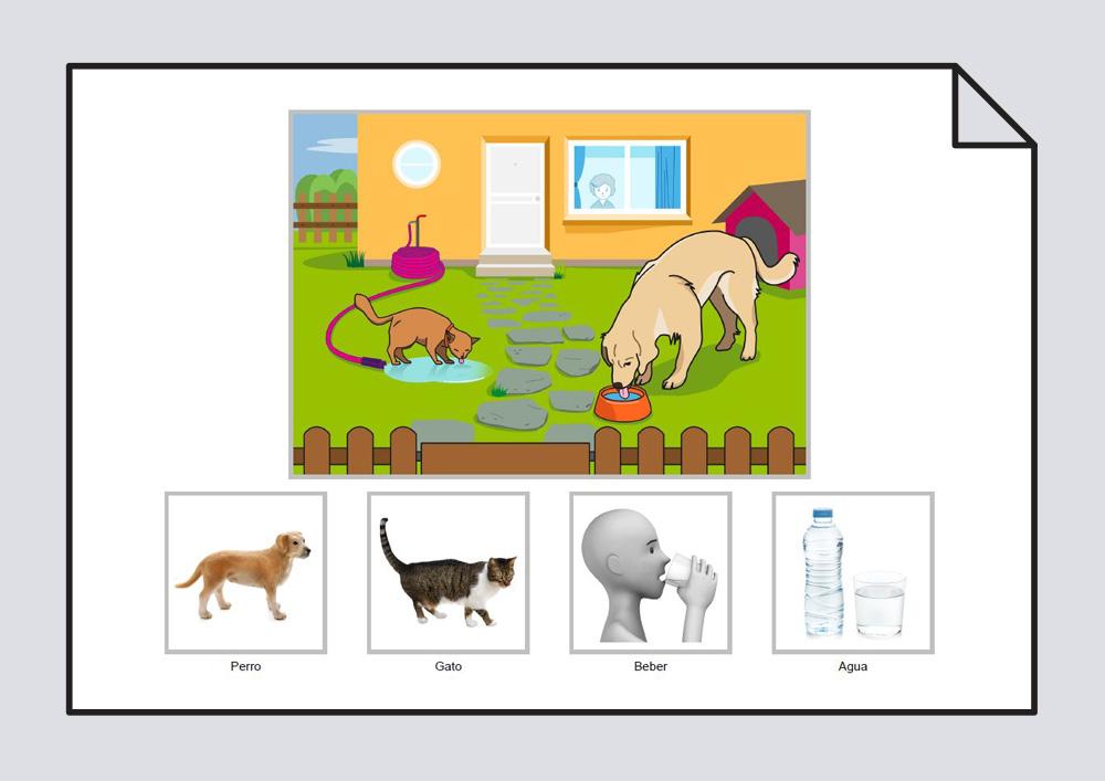 """Material para trabajar la construcción de frases en torno a la lámina """"El perro y el gato beben agua en el jardín"""""""