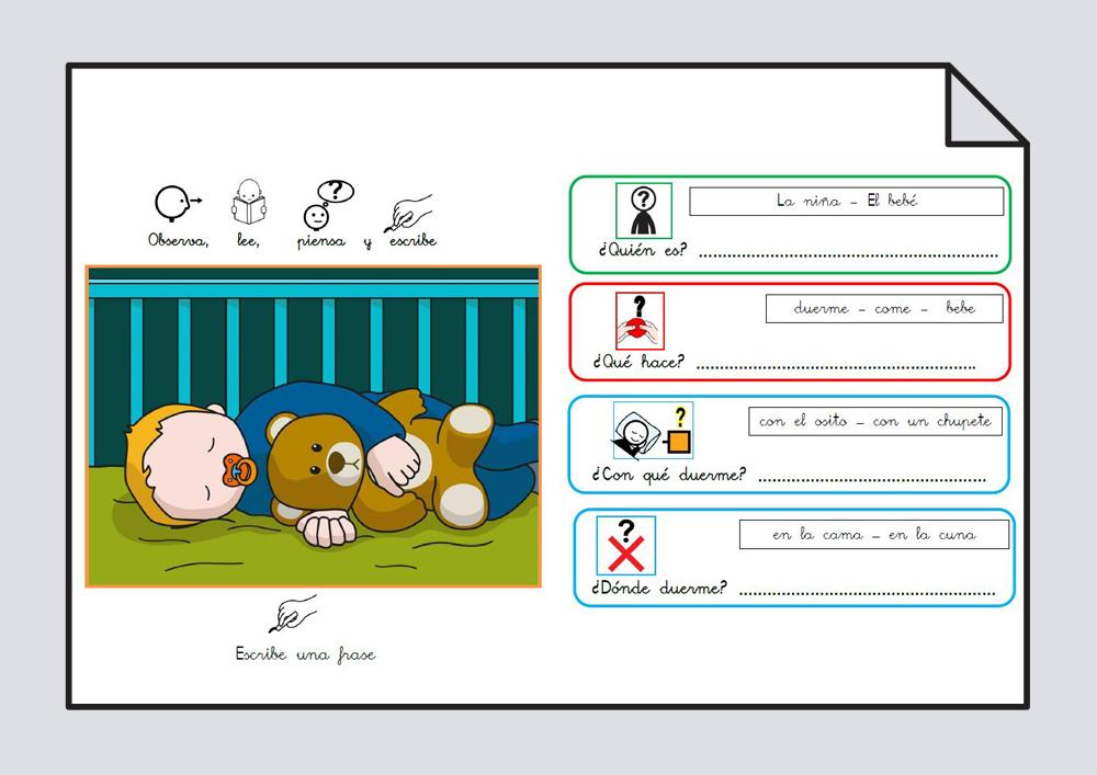 Material para trabajar comprensión / expresión oral y lectoescritura. Verbo Dormir