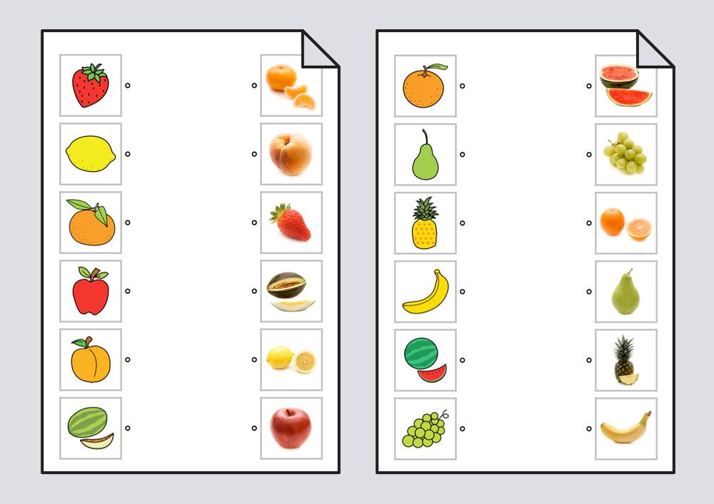 Relacionar frutas: pictogramas-fotografías