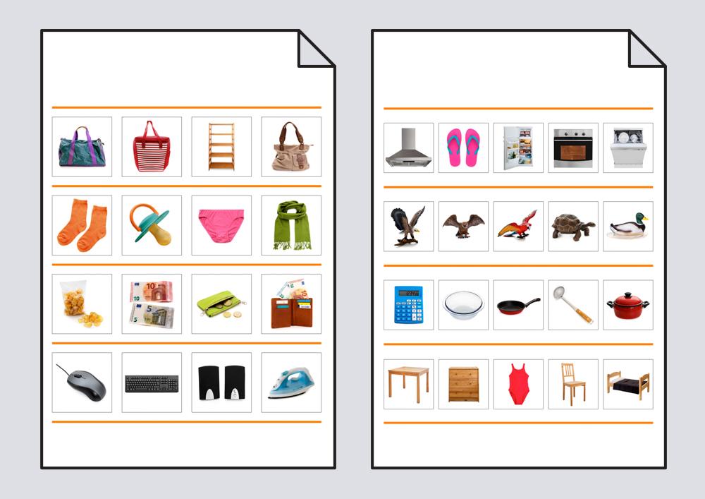Material para trabajar la clasificación del vocabulario, diferenciando los elementos que pertenecen - no pertenecen a una categoría dada.