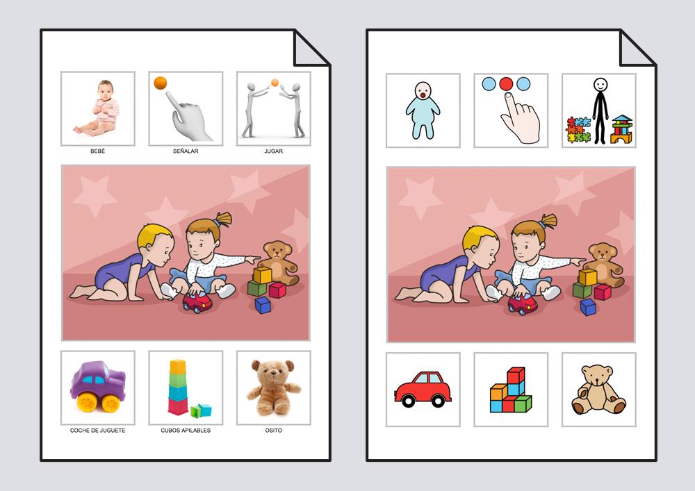 El bebé invita a jugar a otro bebé con sus juguetes