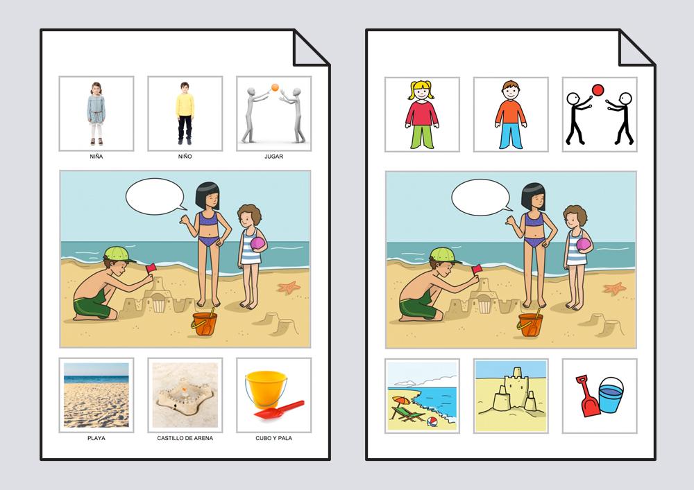 Una niña invita a otra a jugar en la playa