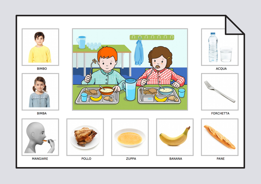 El niño y la niña comen pollo en el comedor del colegio