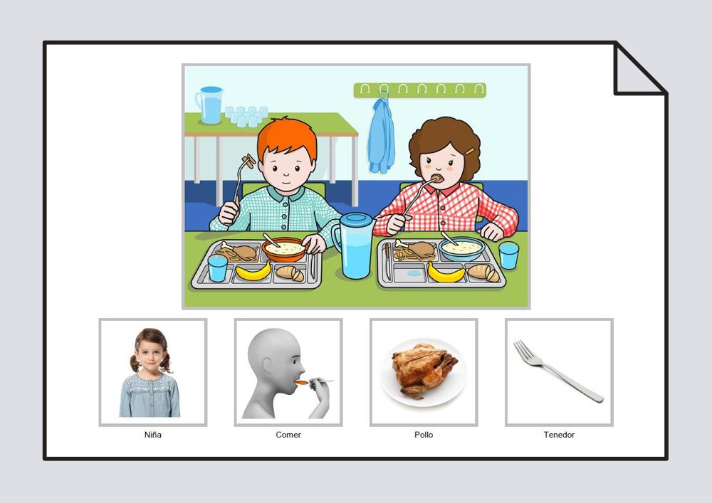 La niña come pollo con el tenedor