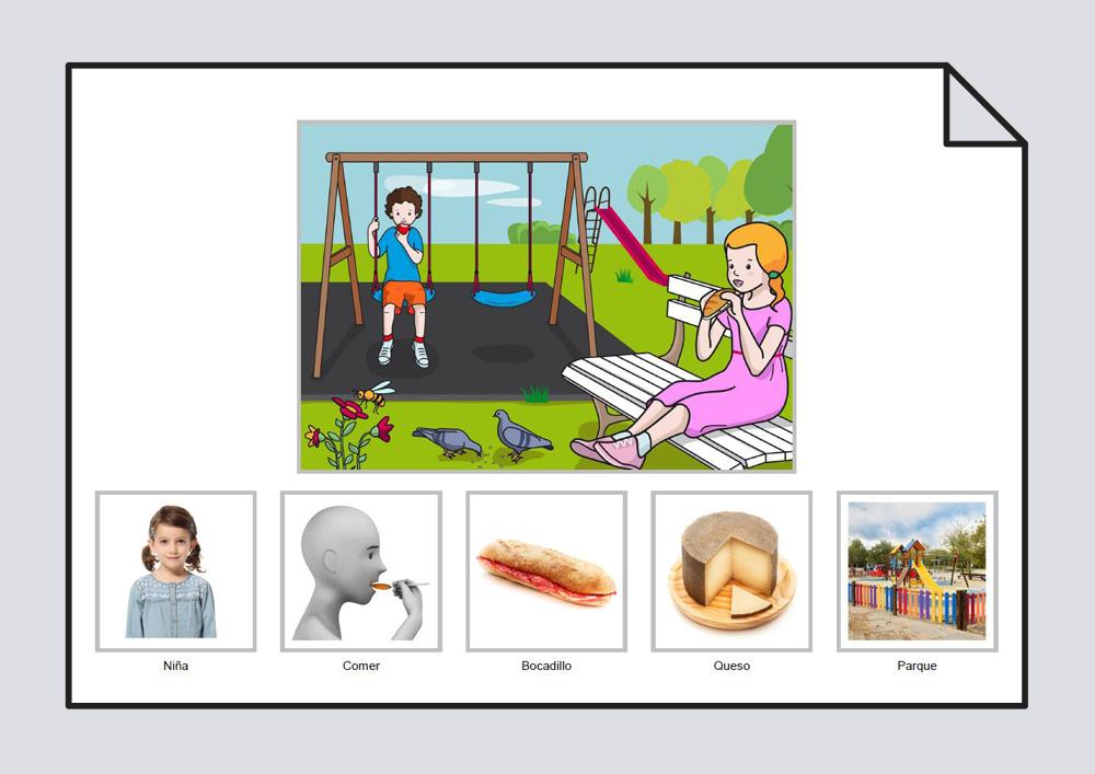 """Material para trabajar la construcción de frases en torno a la lámina """"La niña come un bocadillo de queso en el parque""""."""