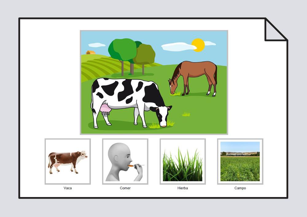 """Material para trabajar la construcción de frases en torno a la lámina """"La vaca come hierba en el campo"""""""
