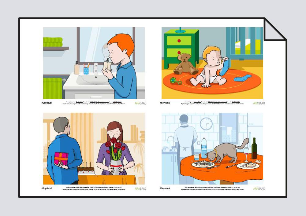 Láminas, fotos y pictogramas. Verbos Oler, Mirar y Oír