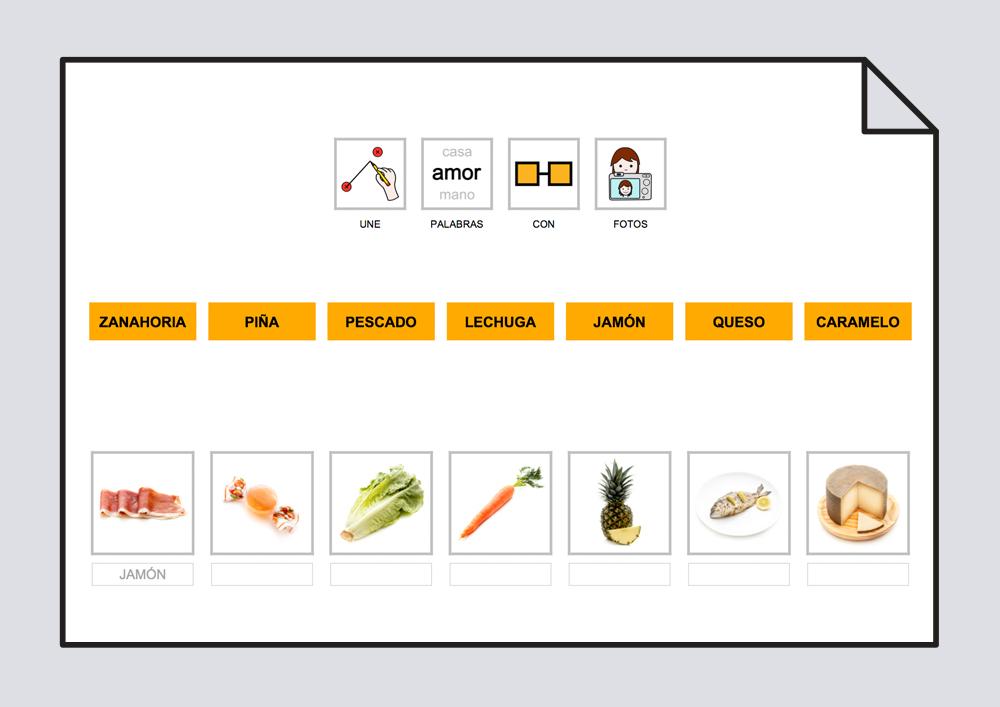 Material para trabajar la lectoescritura relacionando el texto con la foto o con el pictograma correspondiente
