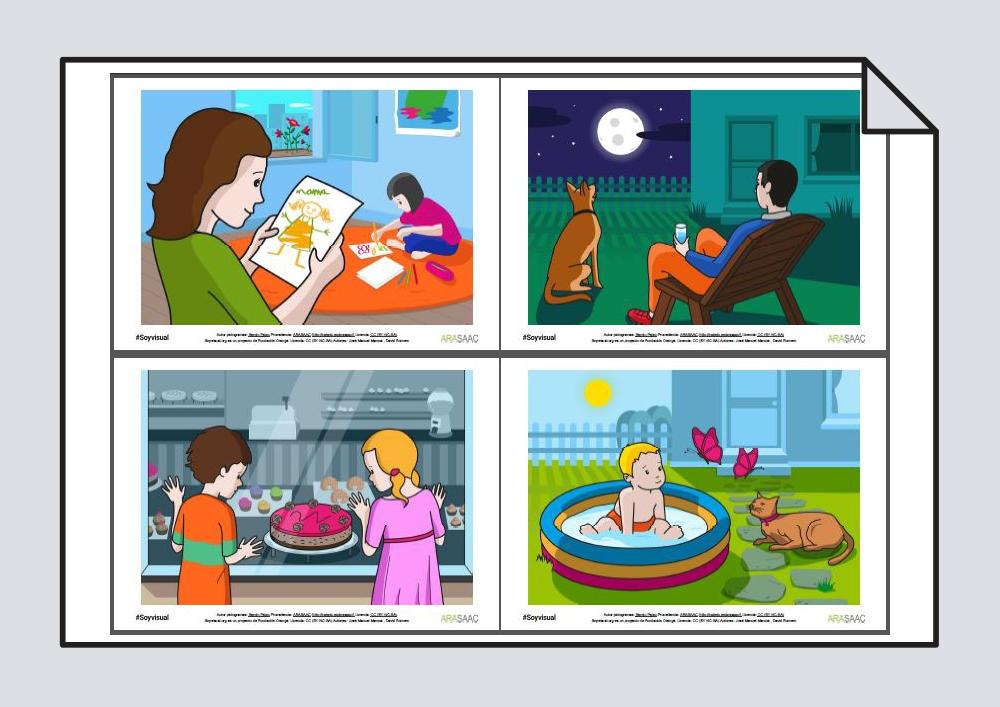 Construcción de frases y vocabulario. Verbos Mirar y Leer