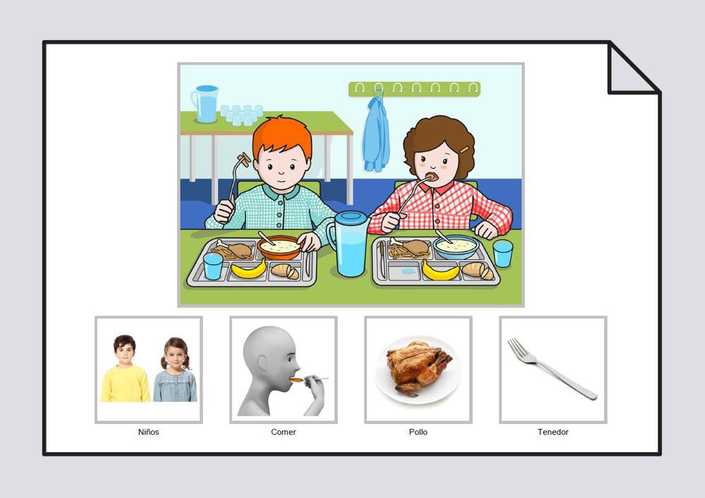 Los niños comen pollo con el tenedor