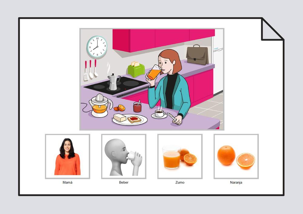 """Material para trabajar la construcción de frases en torno a la lámina """"La mamá bebe zumo en el desayuno"""""""
