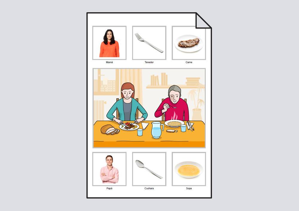 """Material para trabajar el vocabulario básico en torno a la lámina """"La mamá come carne con el tenedor y el papá come sopa con la cuchara""""."""