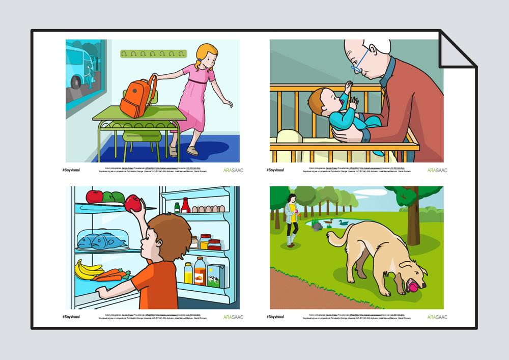 Construcción de frases y vocabulario. Verbos Coger y Comprar