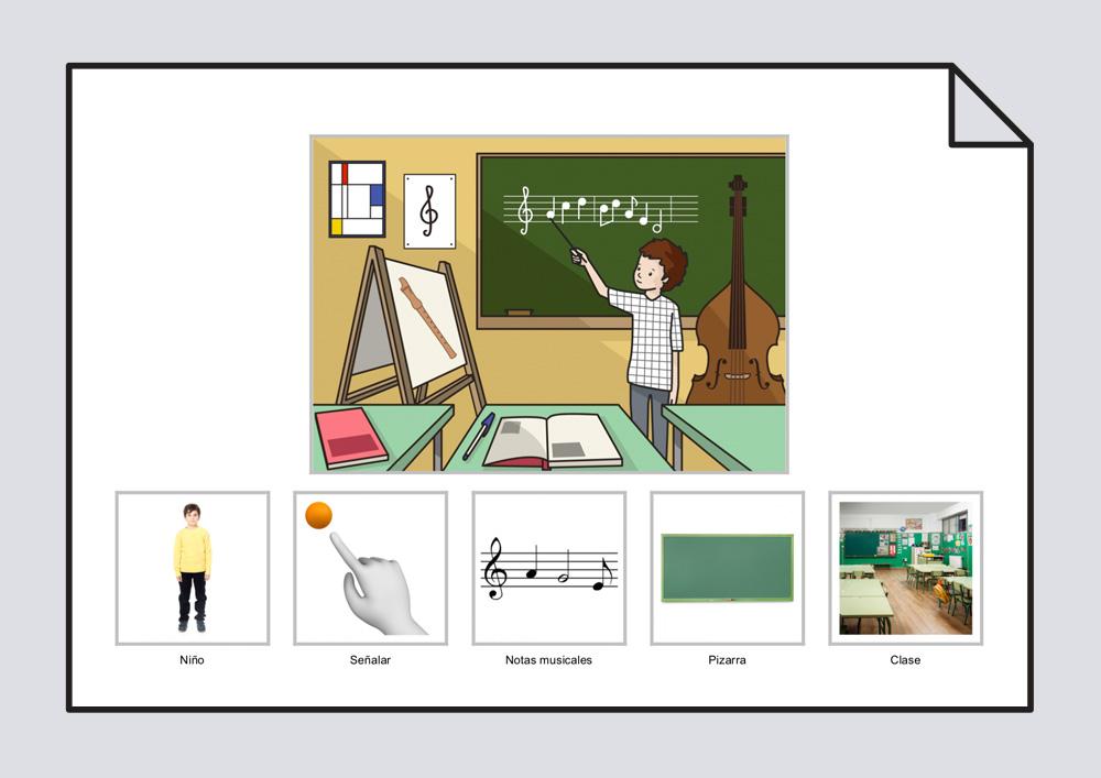 El niño señala las notas musicales