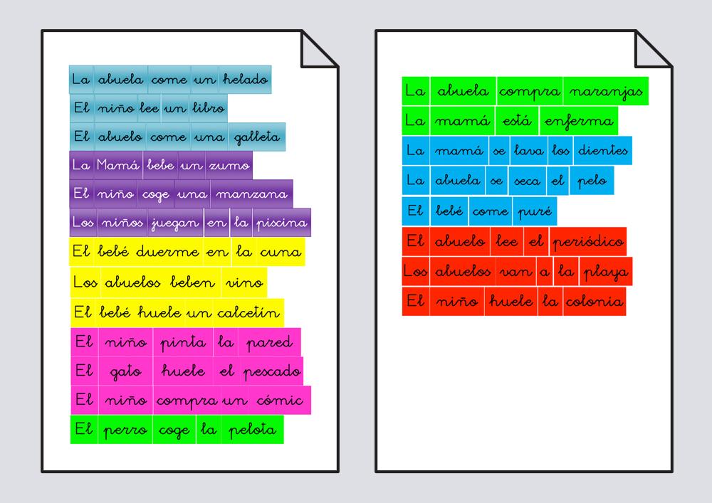 Recorta palabras y ordena la frase