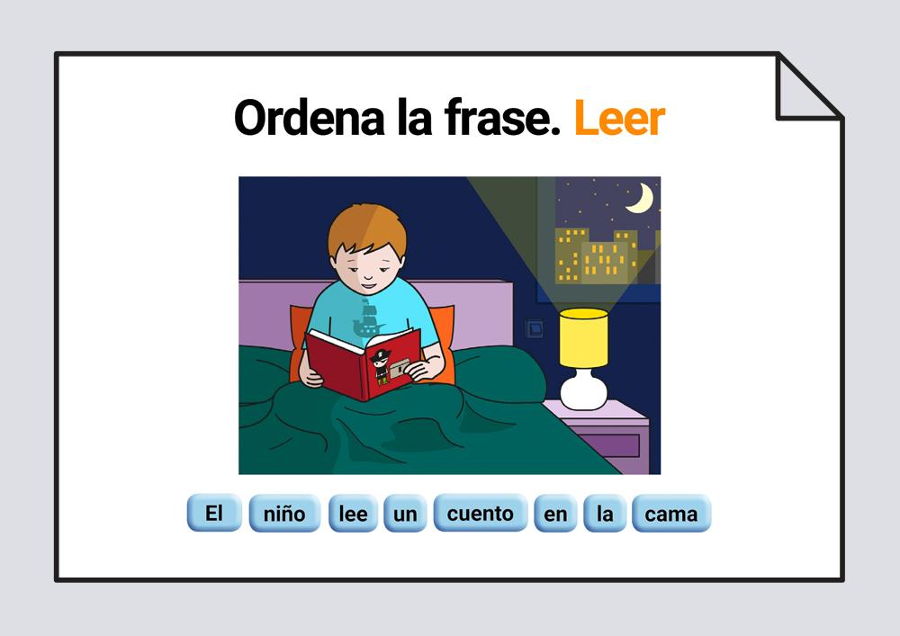 Material interactivo para trabajar la ordenación correcta de las palabras escritas que componen una frase, representada por una lámina. Verbo Jugar.