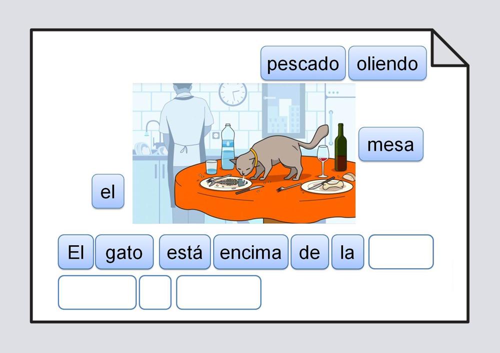 Material para trabajar la ordenación correcta de las palabras escritas que componen una frase, representada por una lámina