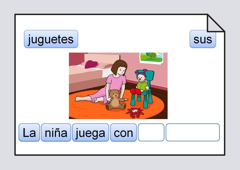 Material para trabajar la ordenación de las palabras escritas que componen una frase