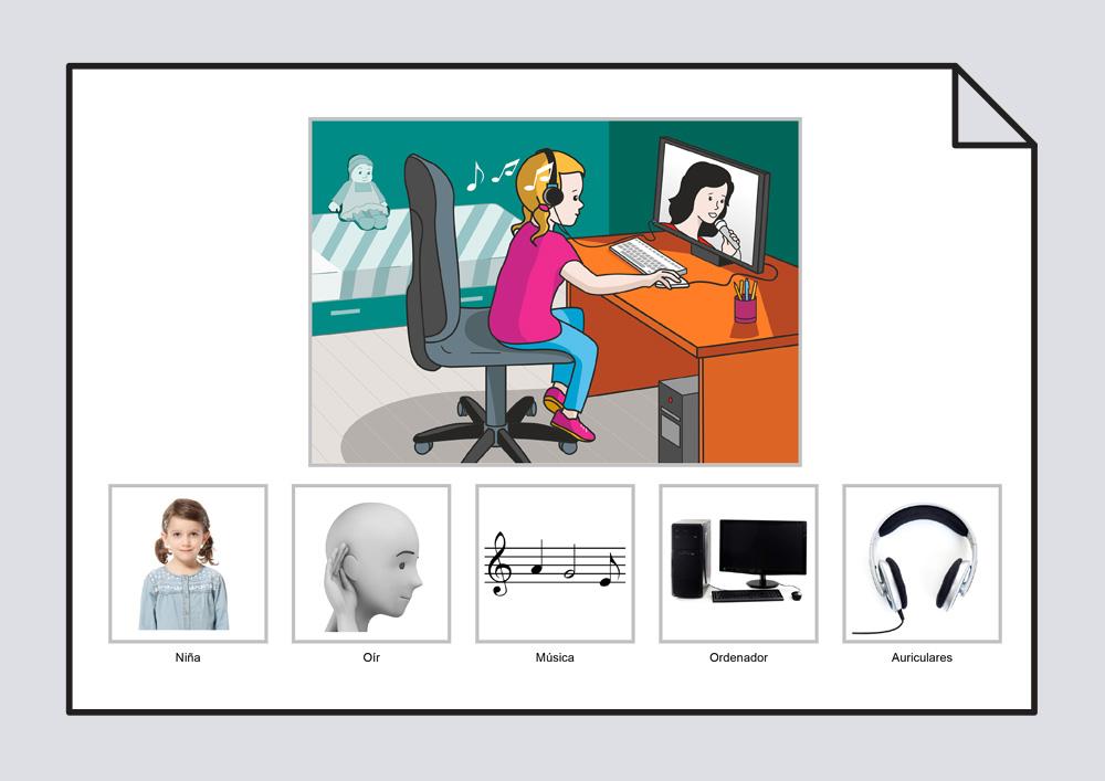 La niña oye la música del ordenador