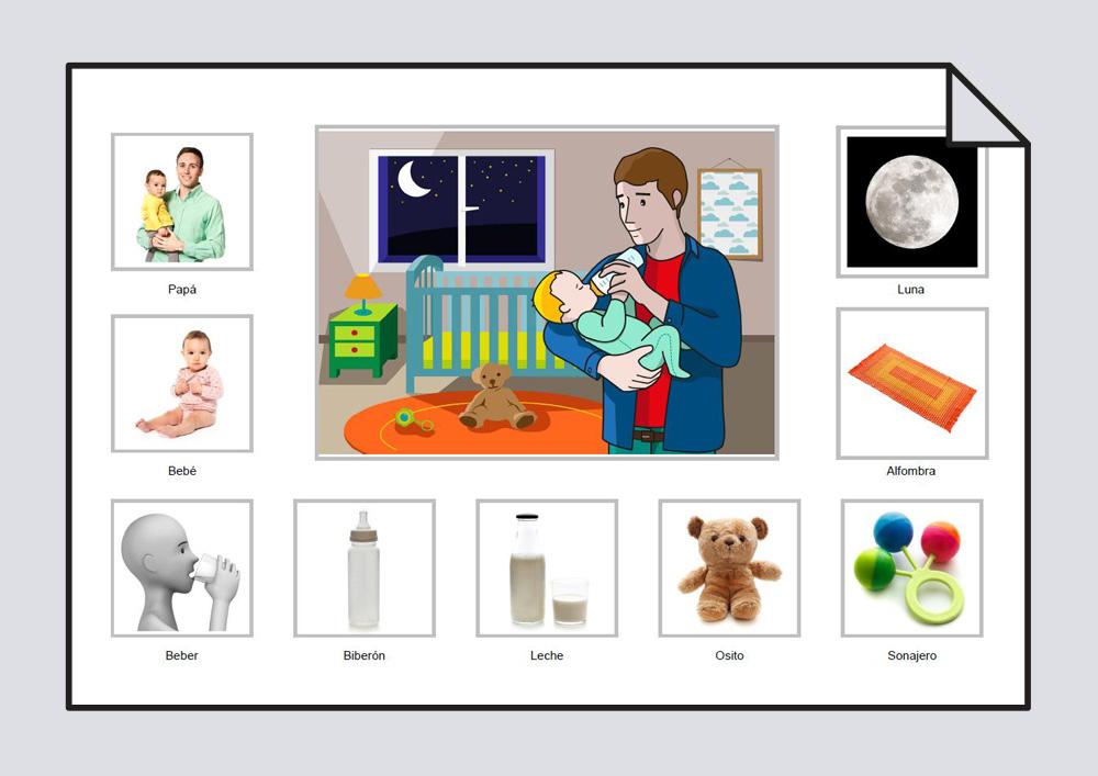 """Material para trabajar el vocabulario básico en torno a la lámina """"Papá-bebé-beber-leche-biberón-osito-sonajero-alfombra-Luna"""""""
