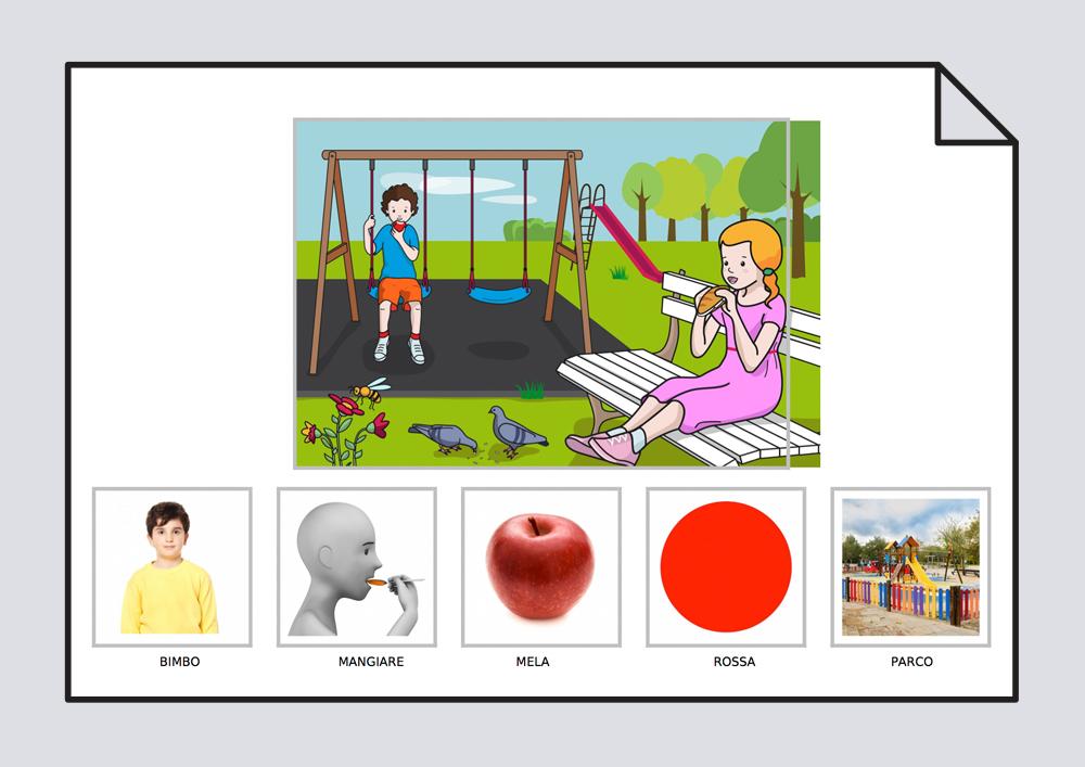 El niño come una manzana roja en el parque