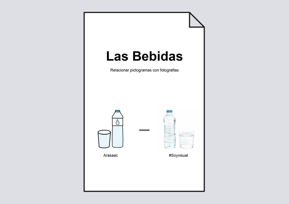 Relacionar bebidas: pictogramas-fotografías