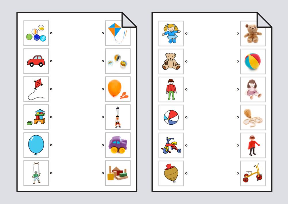 Relacionar juguetes: pictogramas-fotografías