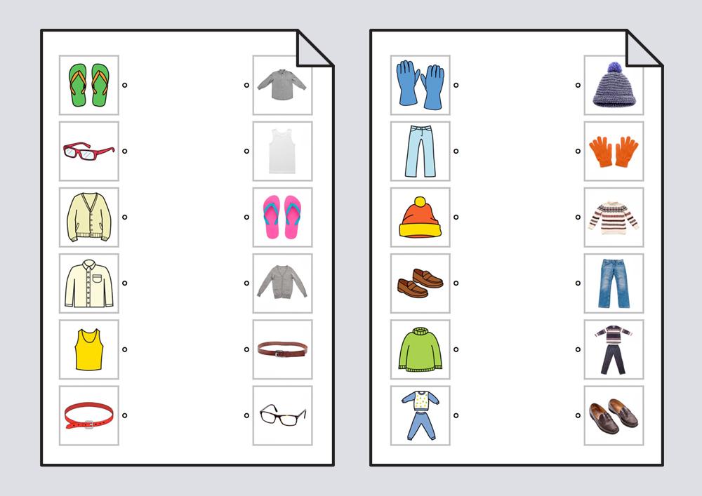 Relacionar ropa: pictogramas-fotografías