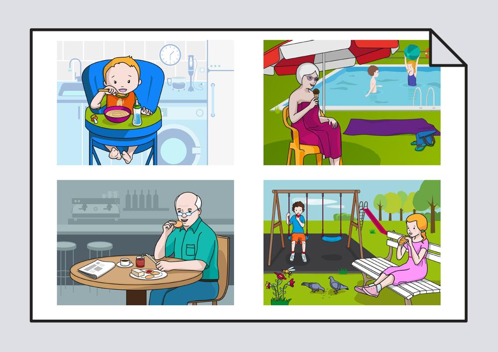 Láminas, fotos y pictogramas. Verbos Comer y Beber
