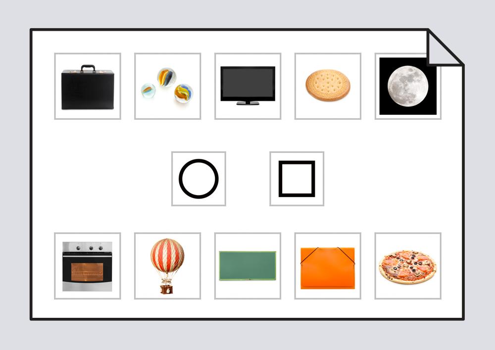 Material para relacionar objetos cotidianos con formas geométricas básicas (círculo y cuadrado).