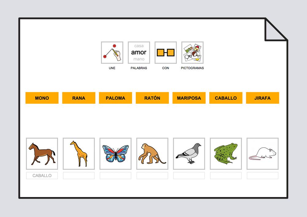 Relaciona texto con fotos y pictogramas. Animales