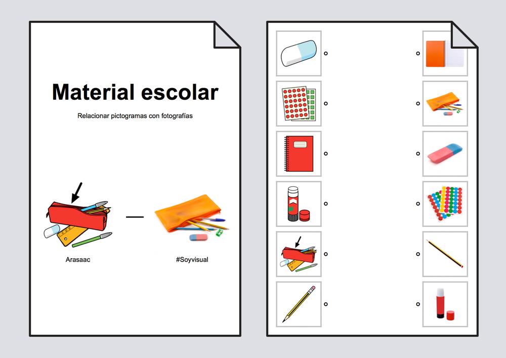 Relacionar material escolar pictogramas fotograf as for Funcion de un vivero escolar