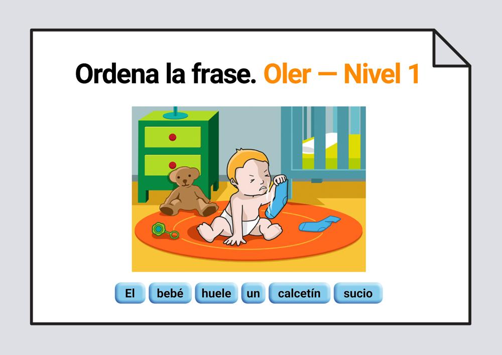Material para trabajar la ordenación de las palabras escritas que componen una frase. Verbo Oler
