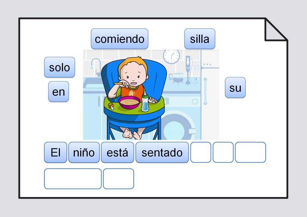 Material para trabajar la ordenación correcta de las palabras escritas que componen una frase, representada por una láminaOrdenación de las palabras escritas que componen una frase