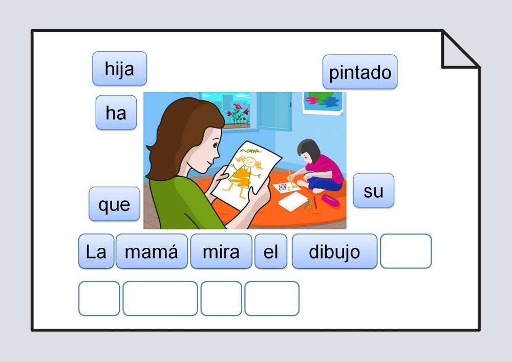 Ordenación de las palabras escritas que componen una frase